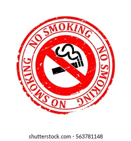 Scratched round red stamped, smoke and cigarette image - vector