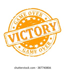 Scratched round yellow stamped - victory,  game over - Vector