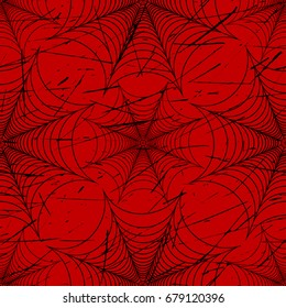 Scratched spider web seamless pattern black and red vector