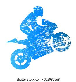 Scratched vector silhouette road motorbike rider. Wheelie