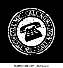 Scratched white round stamp with the words - call me, call now - vector