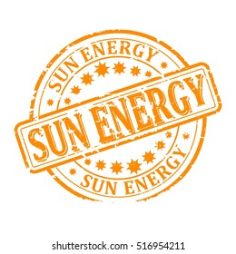 Scratched yellow round stamp with the inscription - solar energy - Vector