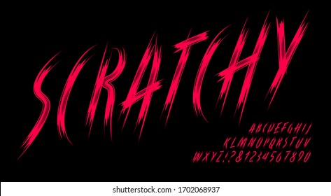 Scratchy alphabet; a dark and ominous font in the style of long scratches made by creature claws. Good for horror, sci-fi, game logos, werewolves, cat scratch themes.
