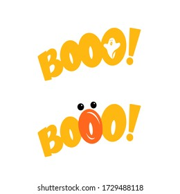 Scream booo, printable icon for halloween. Vector illustration