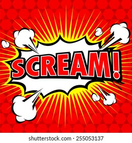 Scream! Comic Speech Bubble, Cartoon.