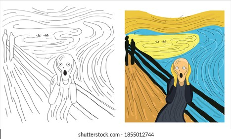 Scream. Edward Munch inspired. Abstract art, flat vector painting.