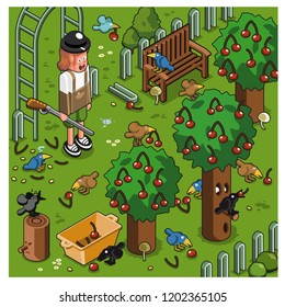 Screaming gardener with gun trying to scare off birds from cherry trees (vector illustration)