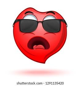 Screaming heart in sunglasses. Cartoon icon heart. Emoji red heart. Vector illustration