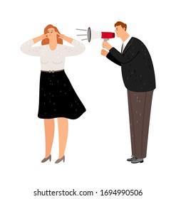 Screaming manager. Girl does not listen boss. Agressive management, negative leader vector illustration