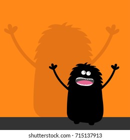 Screaming monster silhouette looking up. Wall shadow shade. Two eyes, teeth, tongue, spooky hands. Black Funny Cute cartoon baby character. Happy Halloween. Flat design. Orange background. Vector