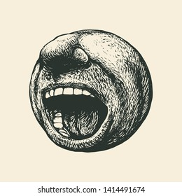 Screaming mouth. Round emoticon. Drawing Style. Vector illustration.