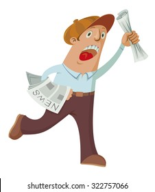 Screaming paperboy selling newspapers hand drawn vector illustration