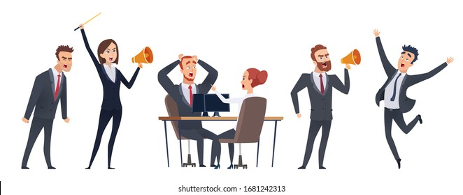 Screaming people. Angry business characters. Woman man with megaphone. Negative leadership vector illustration