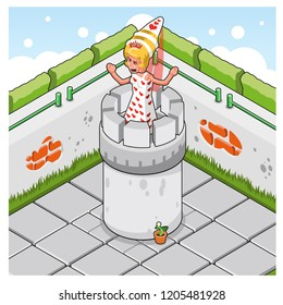 Screaming princess on tower in court of a castle with huge walls (isometric cartoon)