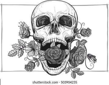 Art Skull And Roses Drawing