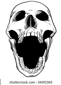 Screaming Vector Skull - Front View