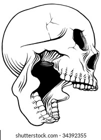 Screaming Vector Skull - Profile View