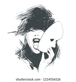 Screaming woman removes the mask from the face. Abstraction, sketch