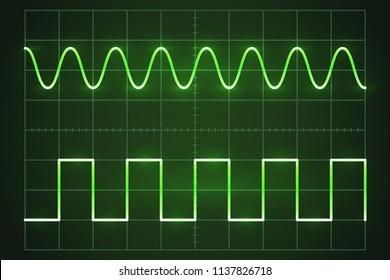 Screen digital oscilloscope. Oscilloscope with image of wave diagram Vector illustration