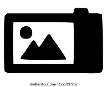 Screen of DSLR digital camera, back side, photography and photo symbol, vector, illustration, in black color, isolated on white background