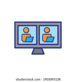 Screen flat icon with people. online communication symbol. simple design editable. Design template vector