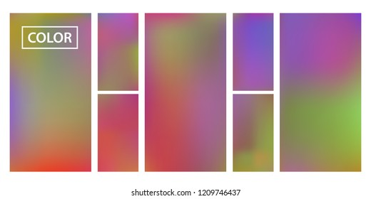 Screen gradient set with modern abstract backgrounds. Iridescent fluid cover for poster, banner, flyer and presentation. Template with screen gradient set for screens and mobile app. Rainbow color.
