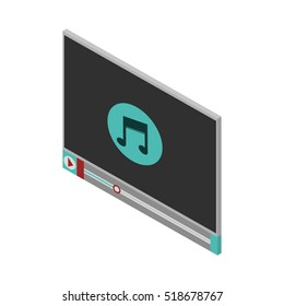 screen with icon music and play button
