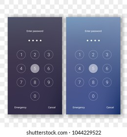 Screen lock authentication password smartphone background template. Vector phone ID recognition screenlock password or lockscreen passcode numbers display
