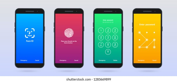 Screen Lock. Set of four mobile phone screen loch Passcode interface for lock screen or enter password pages.