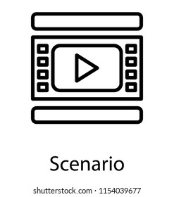 A screen with the play graphic showing the concept of scenario