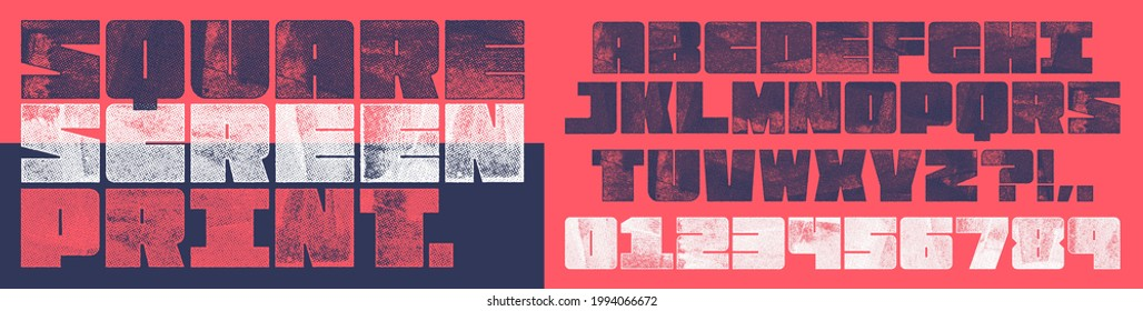 Screen Print Square Font. Works well at small sizes. Detailed individually textured characters with an eroded screen print texture. Unique design font