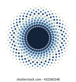 Screen printing pattern. Radiant frame. Abstract vortex. Circular pattern.Pop art Pattern.Round halftone frame isolated on white.Abstract whirligig. Blue eyeball.Dotted print.Circle pattern.Blue eye.