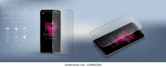 Screen Protector Glass. Vector illustration of transparent tempered glass shield for mobile phone