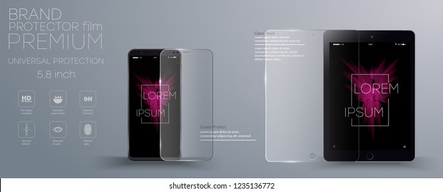 Screen Protector Glass. Vector illustration of transparent tempered glass shield for mobile phone and tablet.