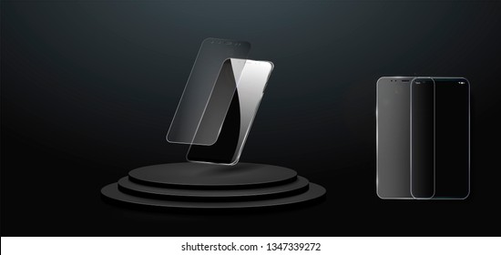 Screen protector Glass. Vector illustration of transparent tempered glass shield for mobile phone. The mobile phone is floating in the air. The phone on the podium.