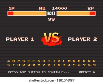 Screen retro game arcade machine. Template of fighting arcade. Vector illustration.