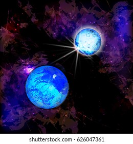 Screen saver space. Background space. Illustrating your design. Blue planets