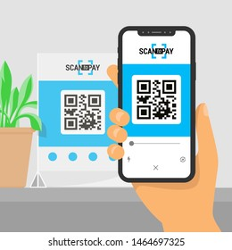 Screen smartphone with app in hand. Scanning qr code on table and online payment, money transfer. Illustration of flat style. Vector isometric infographics. EPS10