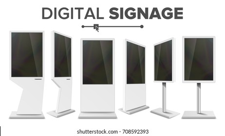 Screen Stand Vector. Digital Kiosk Signage Touch Screen. TV Display Stand Monitor. Multimedia LCD High Defintion Digital Signage. For Restaurants Advertising Projects. Isolated Illustration
