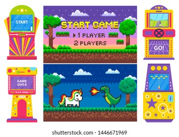 Screen of start and over game, gambling colorful machine, race and space war. Duel of dragon and unicorn heroes, dark view of platform, player vector, gaming pixel 8 bit computer machinery