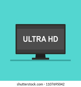 Screen tv with ULTRA HD video technology. Led television display ULTRA HD. Vector stock.
