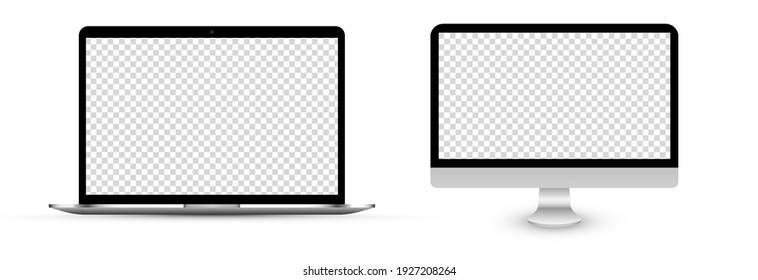 Screen vector mockup. TV and laptop mockup with blank screen. Blank screen for text, design. PNG.