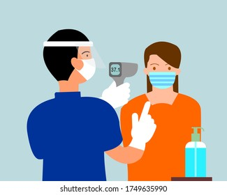 Screening point Covid 19 flat vector illustration. A man uses a thermometer gun with a woman to check the temperature of his body