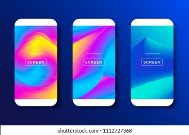 Screens vibrant gradient set background for smartphones and mobile phones. Background for mobile app, ui, design theme. Vector template