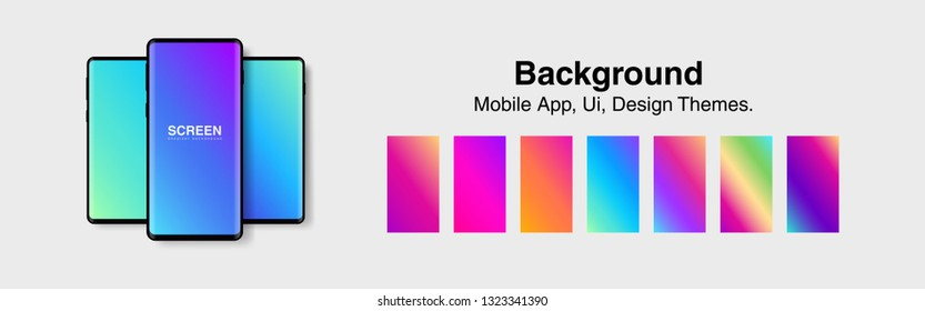 Screens vibrant gradient set background for smartphones and mobile phones. Background for mobile app, ui, design theme. vector