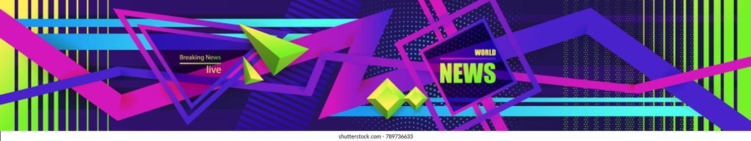 Screensaver for video, modern geometric banner for world news, ultra violet, technology areas. World news, modern concept. TV news design.Abstract Geometric background, breaking news,vector.