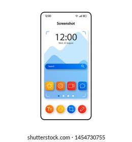 Screenshot making technology smartphone interface vector template. Mobile app page color design layout. Camera photo finder screen. Flat UI for application. Photo capturing tool phone display