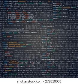 Screenshot with random parts of program code. Vector illustration.
