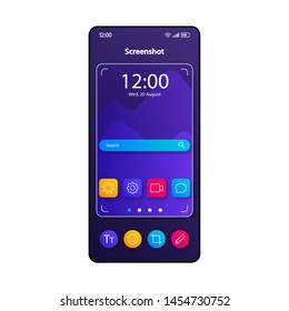 Screenshot taking tool smartphone interface vector template. Mobile app page color design layout. Camera display capturing software screen. Flat UI for application. Focus finder phone display