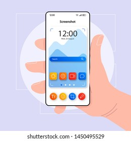 Screenshots taking smartphone interface vector template. Mobile app page color design layout. Camera focus screen. Flat UI for application. Hand holding phone with making screen photo tool on display